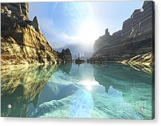 Clear Canyon River Waters Reflect Acrylic Print by Corey Ford