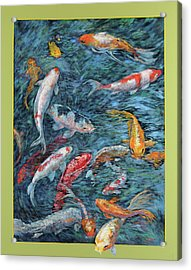 Clear Creek Koi With Painted On Mat Acrylic Print