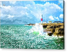 Acrylic Print featuring the mixed media Clearing Storm - Portland Bill Lighthouse by Mark Tisdale