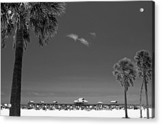 Clearwater Beach Bw Acrylic Print
