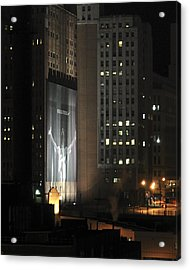 Cleveland At Night 03 - Lebron James Light Display Acrylic Print by Neil Doren