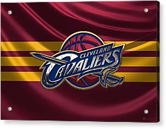 Cleveland Cavaliers - 3 D Badge Over Flag Acrylic Print