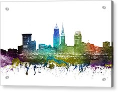 Cleveland Cityscape 01 Acrylic Print by Aged Pixel