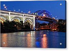 Cleveland Colored Bridges Acrylic Print