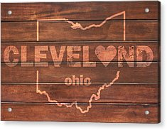 Cleveland Heart Wording With Ohio State Outline Painted On Wood Planks Acrylic Print by Design Turnpike