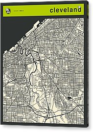 Cleveland Street Map Acrylic Print by Jazzberry Blue