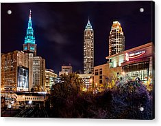 Cleveland Night Hype Acrylic Print by Brad Hartig - BTH Photography