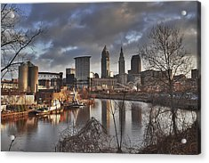 Cleveland Skyline From The River - Morning Light Acrylic Print