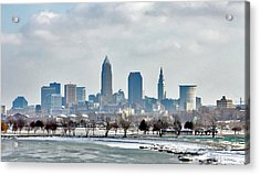 Acrylic Print featuring the photograph Cleveland Skyline In Winter by Bruce Patrick Smith