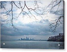Cleveland Skyline With A Vintage Lens Acrylic Print
