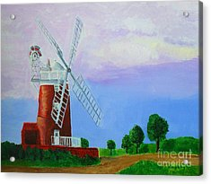 Acrylic Print featuring the painting Cley Mill by Rodney Campbell