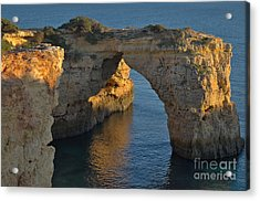 Cliff Arch In Albandeira Beach During Sunset 2 Acrylic Print by Angelo DeVal