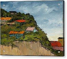 Cliff Homes Acrylic Print by Carolyn Doe