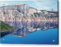 Acrylic Print featuring the photograph Cliff Rim Of Crater Lake by Frank Wilson