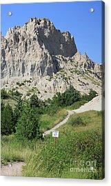 Cliff Shelf Trail In Badlands National Park South Dakota Acrylic Print by Louise Heusinkveld