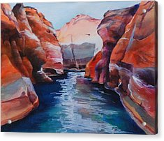 Cliff Tapestries Acrylic Print by Donna Pierce-Clark