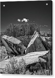Cliff Wall With Pueblo Bonito Acrylic Print by Joseph Smith