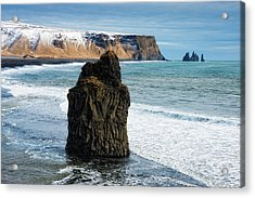 Acrylic Print featuring the photograph Cliffs And Ocean In Iceland Reynisfjara by Matthias Hauser