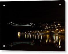 Clifton Suspension Bridge At Night Acrylic Print by Brian Roscorla