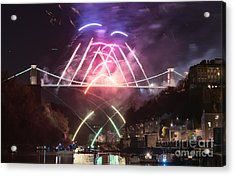 Clifton Suspension Bridge Fireworks Acrylic Print