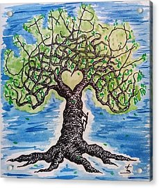 Acrylic Print featuring the drawing Climb-on Love Tree by Aaron Bombalicki