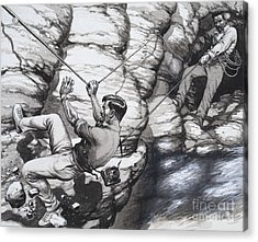 Climbing Archaeologists Acrylic Print by Pat Nicolle