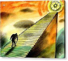 Climbing The Corporate Ladder Acrylic Print by Leon Zernitsky