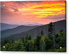 Clingmans Dome Great Smoky Mountains - Purple Mountains Majesty Acrylic Print by Dave Allen