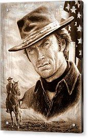 Clint American Legend Sepia Acrylic Print