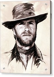 Clint Eastwood Portrait Acrylic Print by Wu Wei