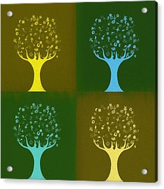 Acrylic Print featuring the mixed media Clip Art Trees by Dan Sproul