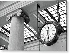 Clock And Column In Saint Paul Union Depot Acrylic Print by Jim Hughes