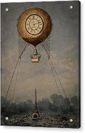 Clock Over Paris Acrylic Print