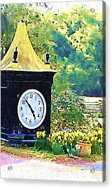 Acrylic Print featuring the photograph Clock Tower In The Garden by Donna Bentley