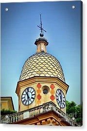 Clock Tower Of Portofino Acrylic Print by Sue Melvin