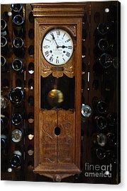 Clock Wine Rack Acrylic Print by Valia Bradshaw