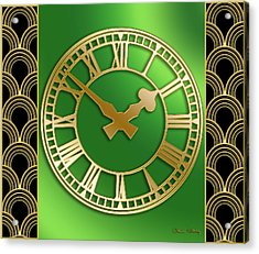 Acrylic Print featuring the digital art Clock With Border by Chuck Staley