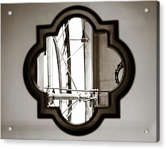 Clocktower Reflection Acrylic Print by Marilyn Hunt