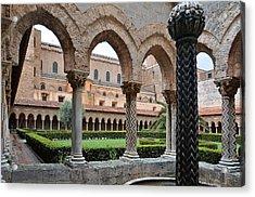 Cloister Of The Abbey Of Monreale. Acrylic Print by RicardMN Photography