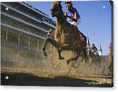 Close Action Shot Of Horses Racing Acrylic Print by Melissa Farlow