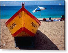 Close Up Frontal View Of A Colorful Boat On A Caribbean Beach Acrylic Print by George Oze