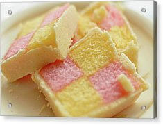 Close Up Of Battenberg Cake E Acrylic Print
