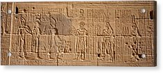 Close-up Of Carvings On A Wall, Temple Acrylic Print by Panoramic Images