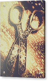 Close Up Of Jewellery Scissors Of Bronze Acrylic Print