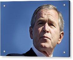 Close Up Of President George W. Bush Acrylic Print by Everett