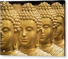 Close-up On Head Buddha Statue, Soft Focus. Acrylic Print by Tosporn Preede