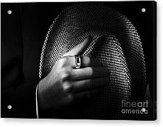 Close-up Shot Of A Male Ring Hand Holding Hat Acrylic Print