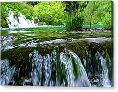 Close Up Waterfalls - Plitvice Lakes National Park, Croatia Acrylic Print