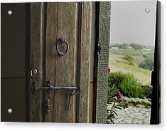 Close View Of A Wooden Door On A Villa Acrylic Print by Todd Gipstein