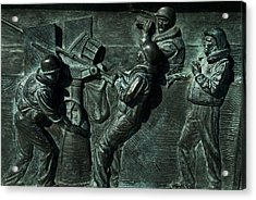 Close View Of Bronze Relief Sculpture Acrylic Print by Todd Gipstein